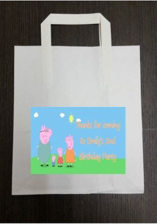 4 x Peppa Pig Birthday Party Bags with Personalised Sticker